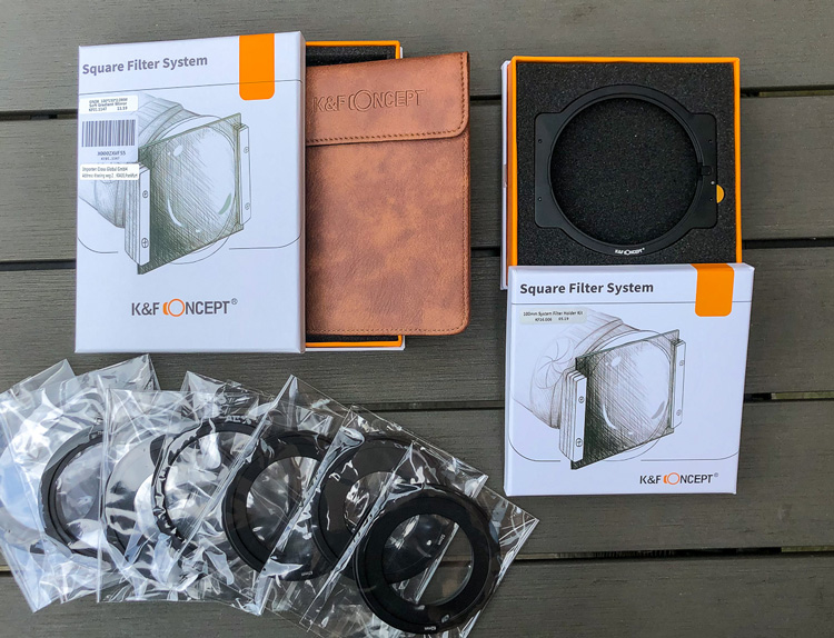 K&F Concepts graduated neutral density filter and holder product display showing packaging and filters