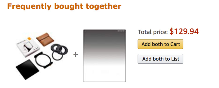 screenshot showing filter system and adapter rings in an amazon shopping cart