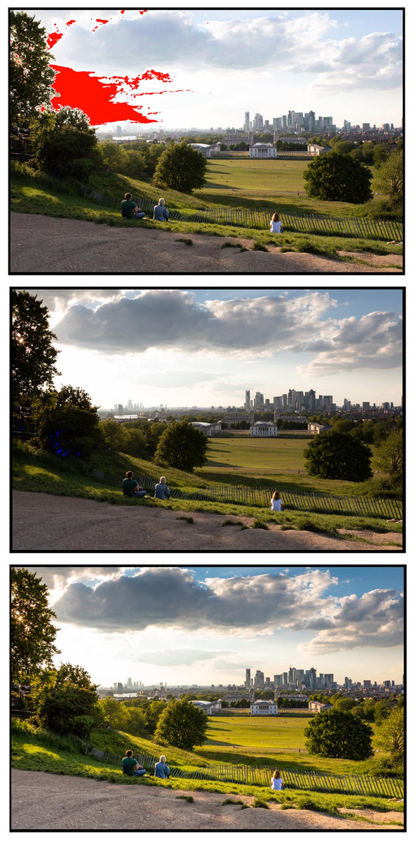example images shot before and after graduated neutral density filter applied