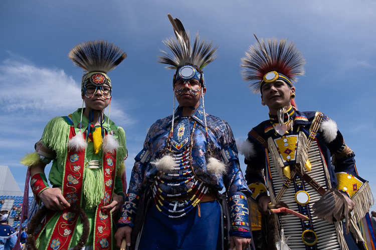 before photo example of native men in traditional clothing raw file with no edits