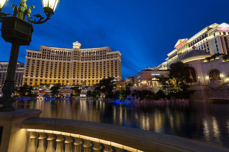 before photo example of Bellagio fountain in Las Vegas at night raw file with no edits