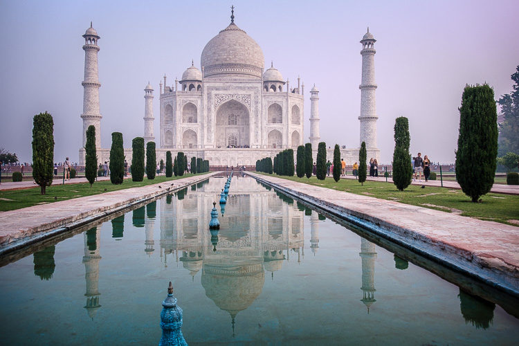before photo example of India's Taj Mahal with basic edits done in Lightroom