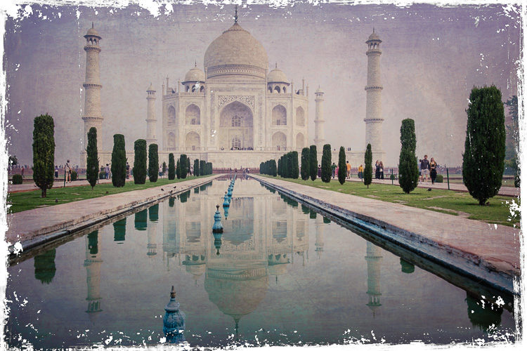 Taj Mahal photo after texture overlays applied using the Flex Plugin within Lightroom