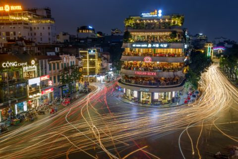 Multi colored car trails are seen in this long exposure shot on the streets of Hanoi City Vietnam