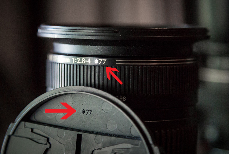camera lens showing how to identify proper sizing for filter accessories