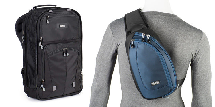 large backpack and smaller sling style camera bag for traveling light