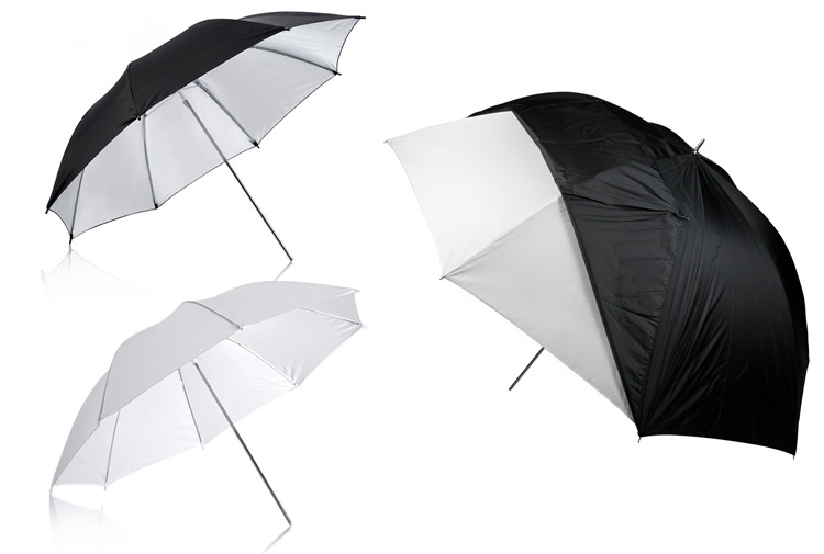 three types of umbrella light modifiers shown, one with a cover