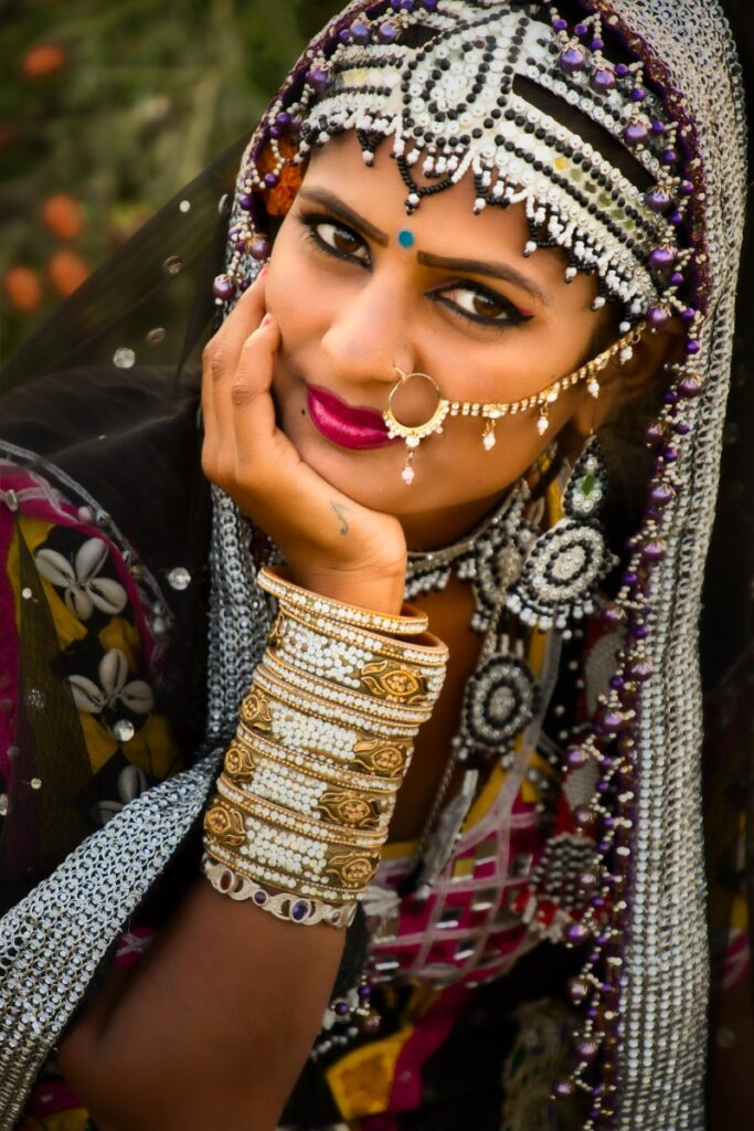 Portrait photo of an Indian woman in traditional dress edited with Luminar 4