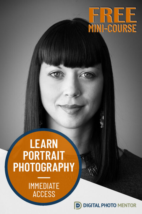 Free beginner photography portraits course.  Tips, ideas and more.  Enroll in this free beginner photography portraits course and learn portrait tips, get ideas for shoots, learn about lighting for portrait photography, lens selection, lighting patterns, camera settings for portraits and more. Beginner photography portraits.