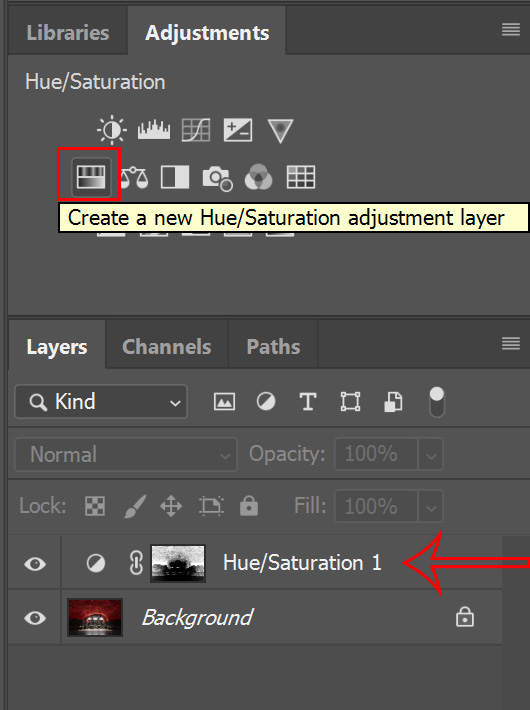 hue saturation layer