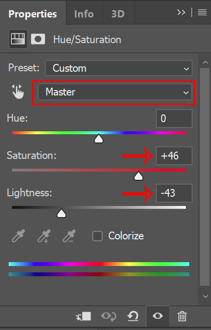 hue saturation layer adjusted