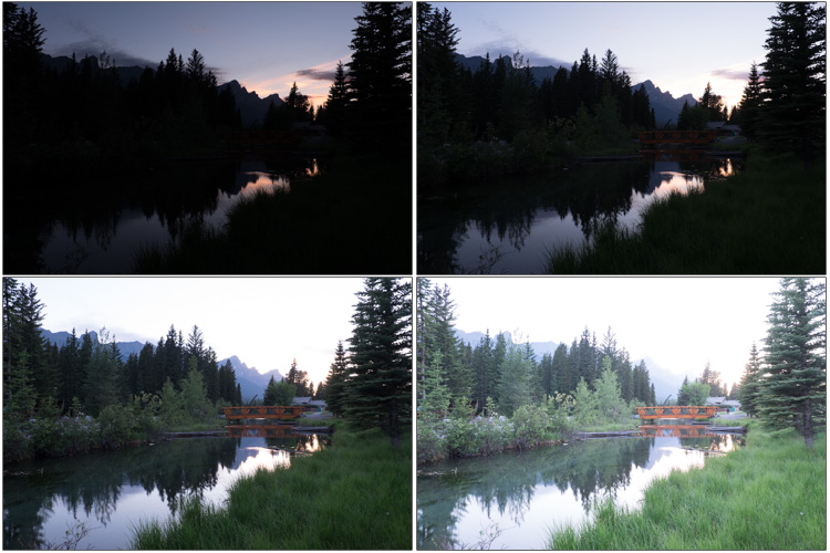These are the original bracketed images so you can see there is detail in all areas of the scene.