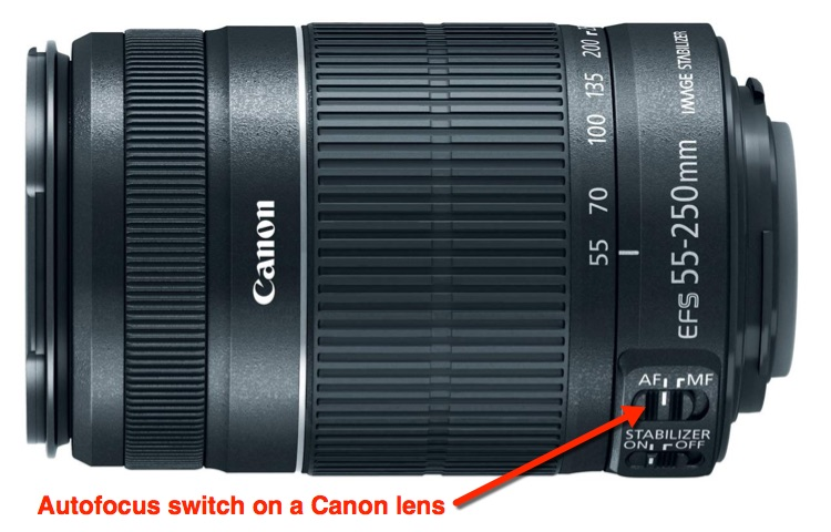 canon lens autofocus switch located on the barrel of the camera lens