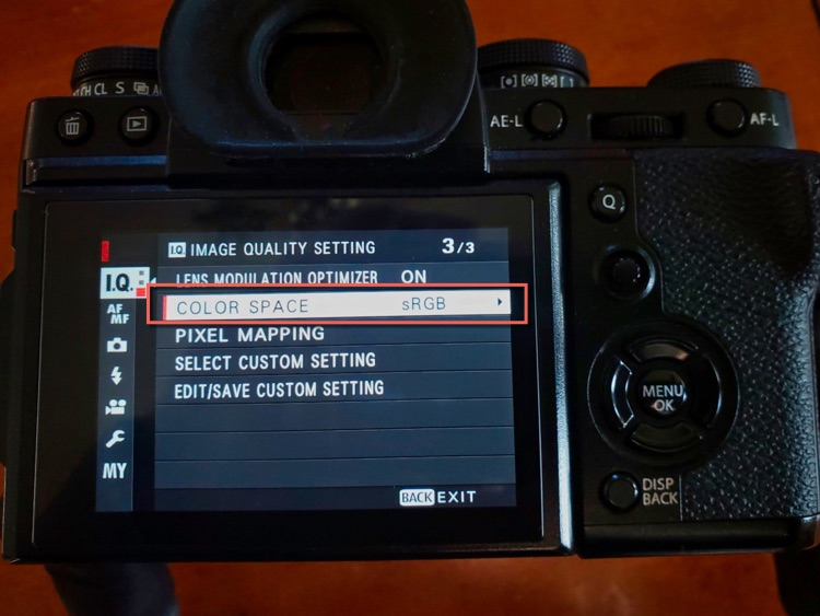 color space settings shown on camera screen with sRGB selected