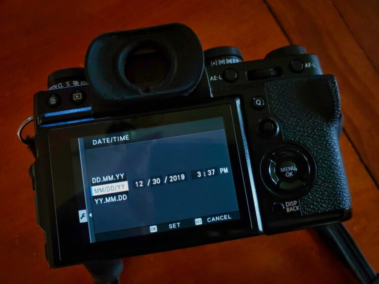 date and time settings shown on camera screen with format and date