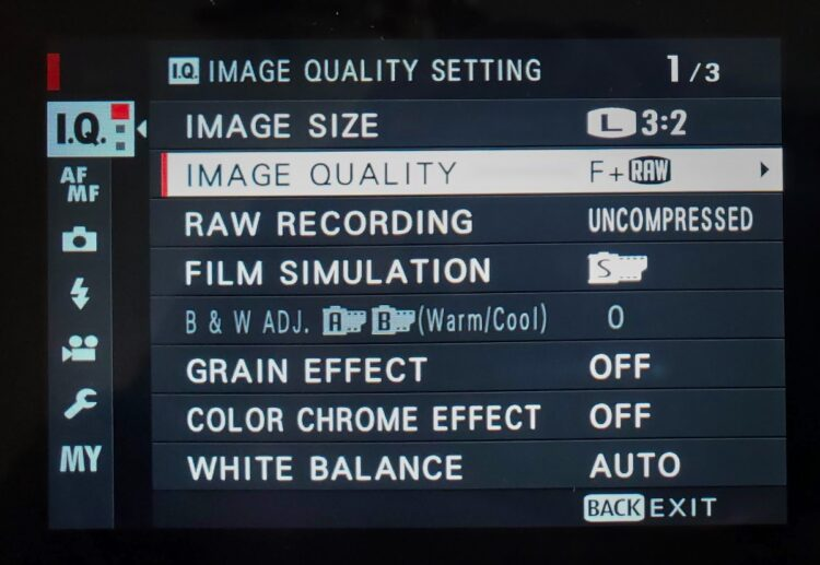 image quality camera settings shown selected