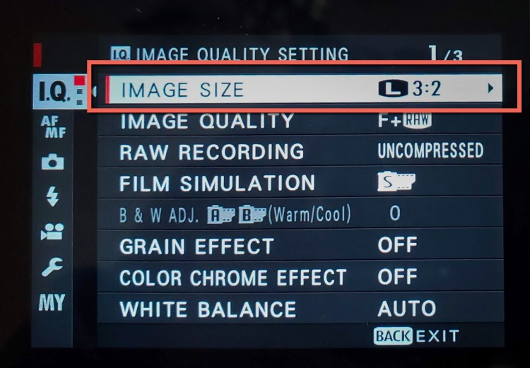 Image size setting on the camera menu shown and highlighted
