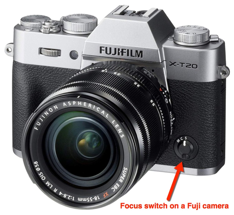 Fujifilm camera showing the location of the focus switch to check if camera wont focus