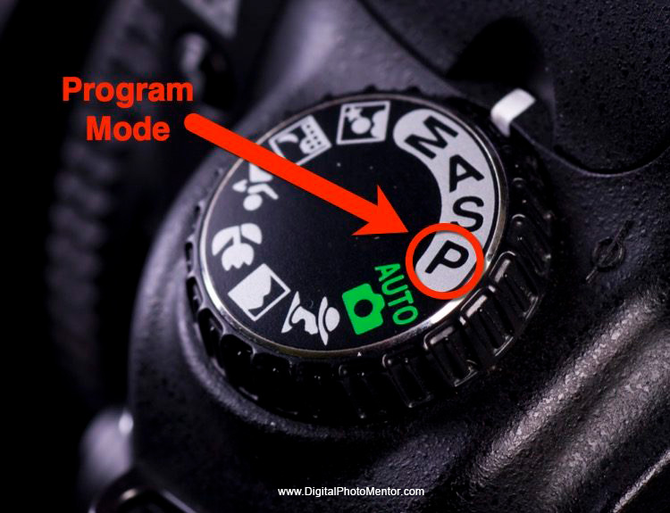 Where to find program mode on your camera dial, indicated with arrow