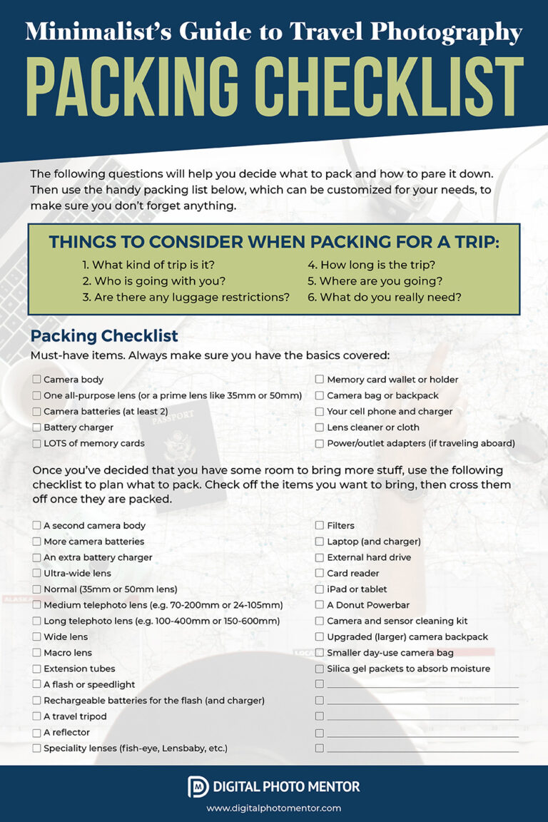 The minimalist guide to travel photography packing list with 6 things to consider to help you decide what to pack.  Checklist for printing