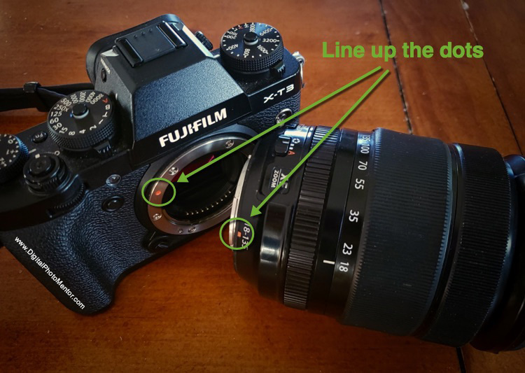 mount the lens onto the camera body by lining up the dots on the lens and the body as indicated with arrows