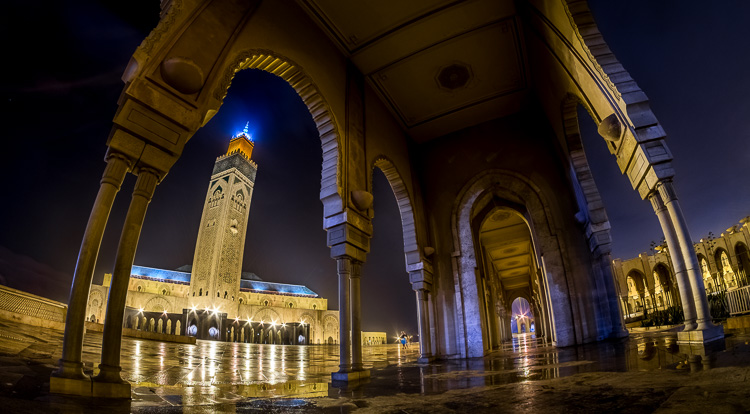 Hassan ii mosque in Casablanca photographed during blue hour with the rokinon super-wide fisheye lens
