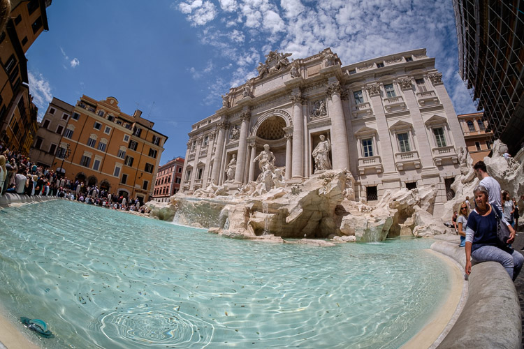 Trevi foundatin in Rome as captured in camera with the Rokinon fisheye lens, without filter