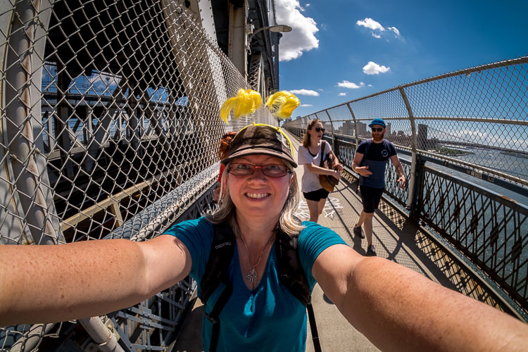 creative selfie on the Manhatten Bridge with a super wide-angle lens