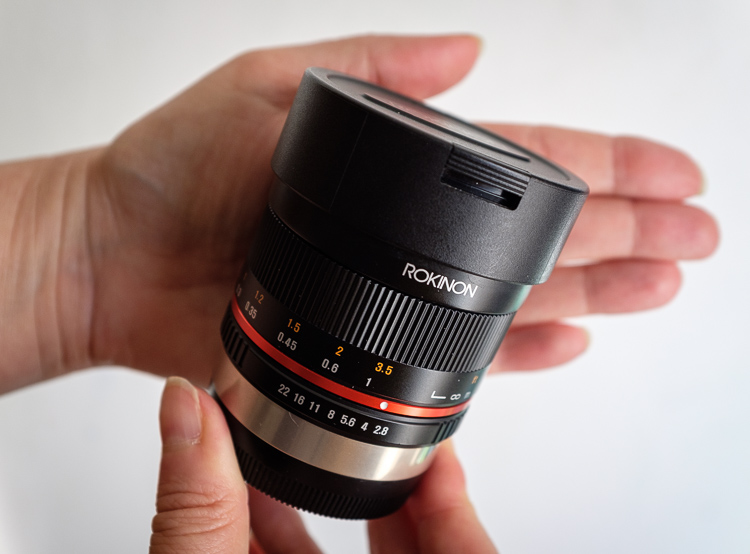 Rokinon 8mm f2.8 fisheye lens in palm