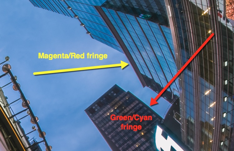 chromatic aberration shown on the edges of buildings in this example