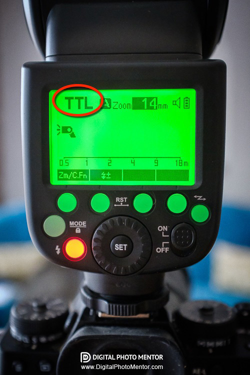 TTL flash mode shown circled on the flash settings screen