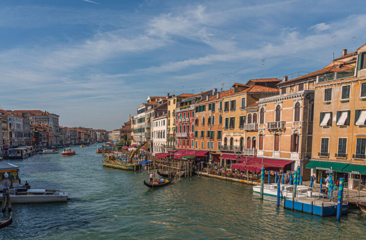 View of the beautiful and old architecture in Venice Italy