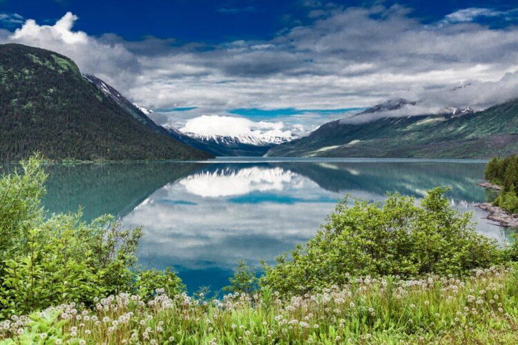 Beautiful lake and mountains in Alaska with reflections