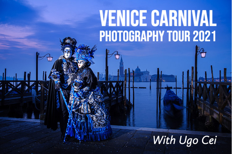 venice carnival photography tour banner showing costumed couple at blue hour in St Marks Square