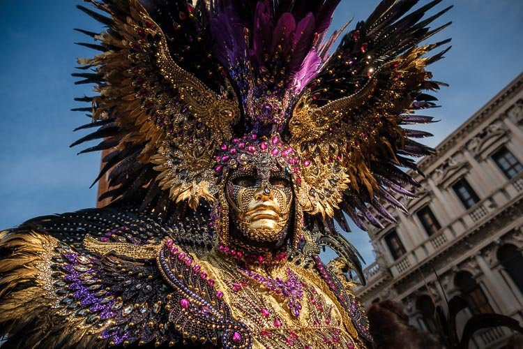 a photo showcasing the elaborate nature and detail in the masks and costumes at Carnival - Model Paolo Favalesi