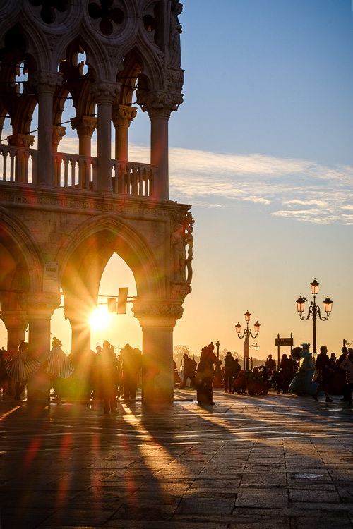 Vertical HDR photo of sunrise in San Marco Piazza using 3 photos combined