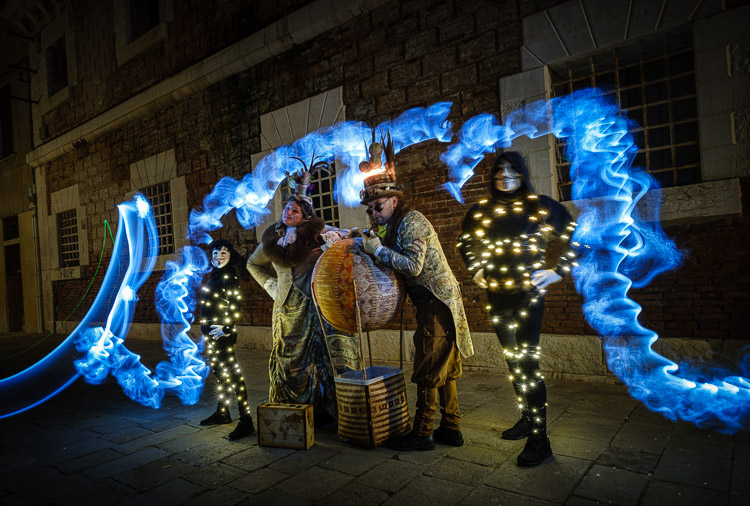 Light painted characters in costume