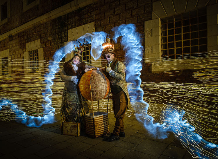 Final shot of Carnival characters and light painting effects