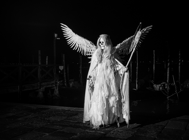 black and white conversion of angle of death costume lit with off camera flash