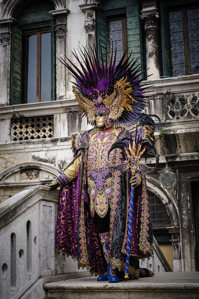 a stunning mask and costume at venice carnival