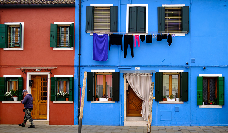 colorful buildings and laundry on Burano Island