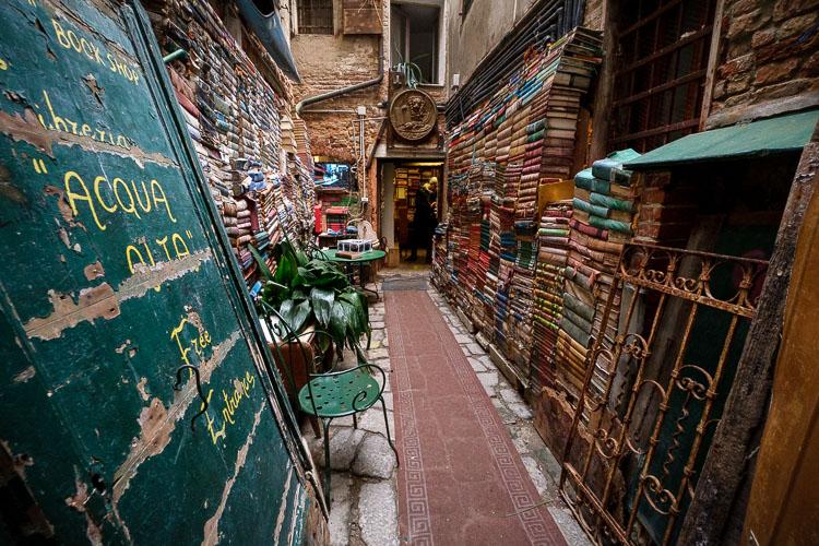 Acqua Alta bookstore in Venice Italy