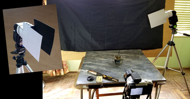 complete view of camera and flash setup for smoke photography