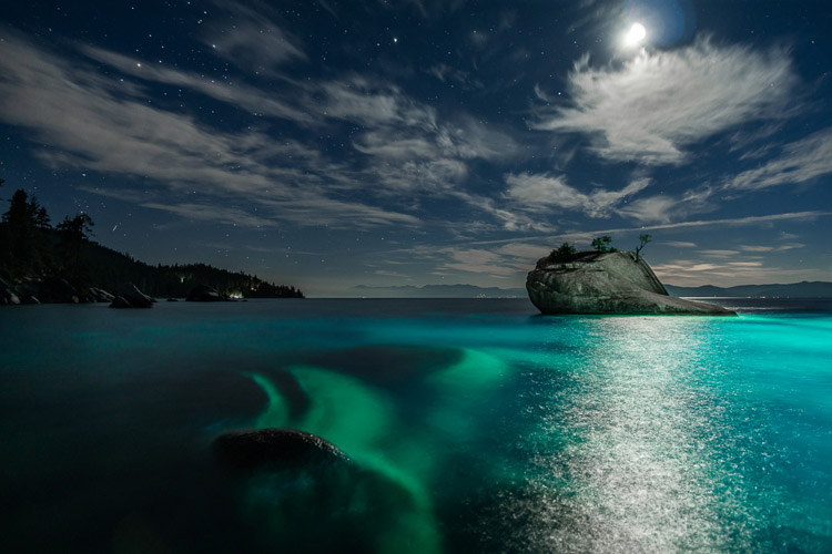 light painting lake tahoe bonsai rock