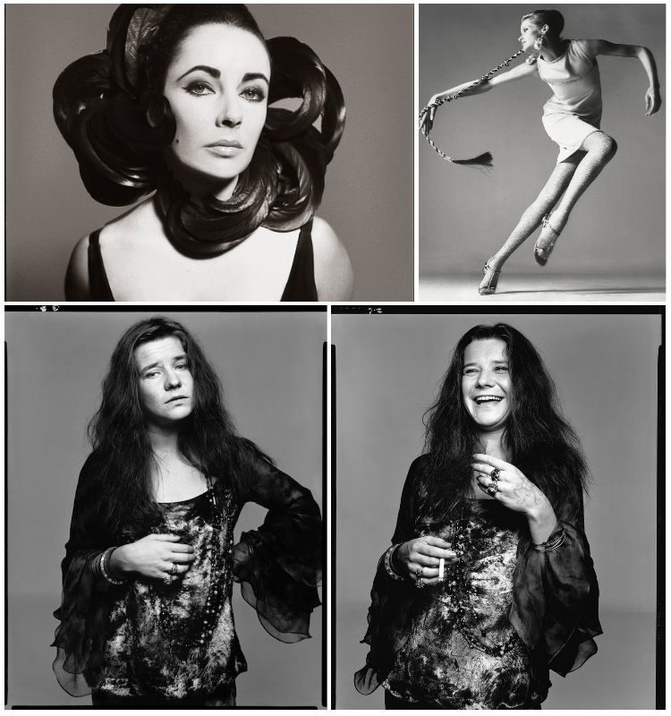 a collection of four famous photos taken by Richard Avedon