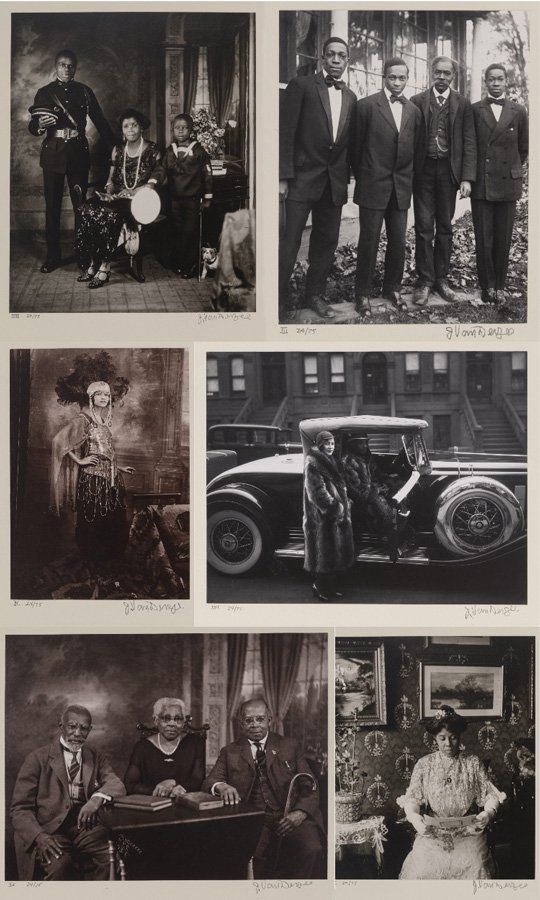 a sample of historical black and white and sepia tone portrait photos of 1920's middle-class African-American families and celebrities taken by James Van Der Zee