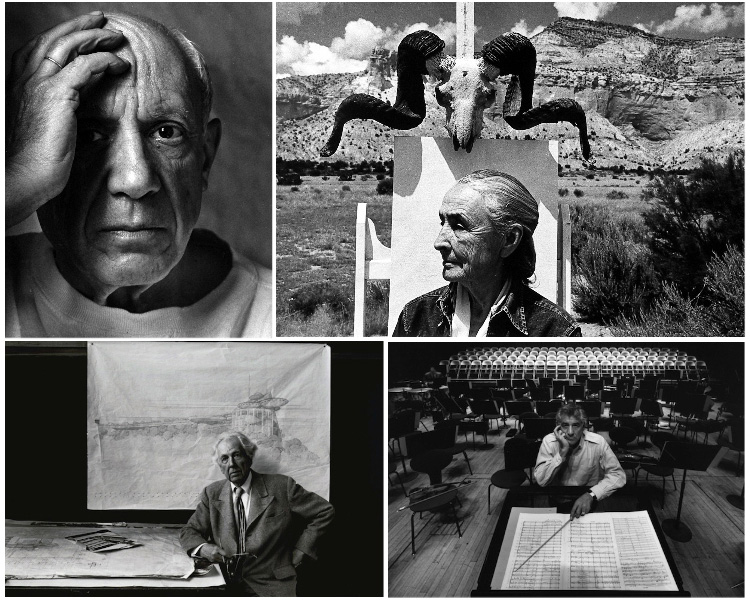 collage of portrait photos taken by Arnold Newman including Pablo Picasso, Georgia O'Keefe, Frank Lloyd Wright and Leonard Bernstein