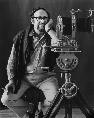 Portrait of Arnold Newman with his large format camera