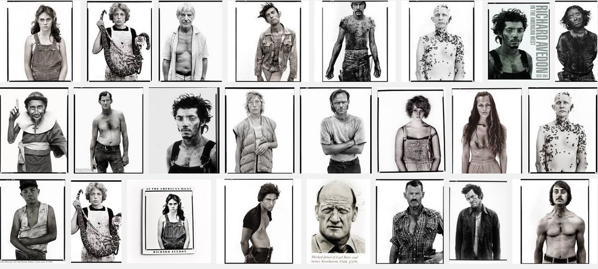 a sample of iconic portrait photos of ordinary people which became part of an exhibit and the book In The American West, taken by Richard Avedon