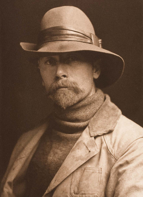 Self portrait of photographer Edward S Curtis